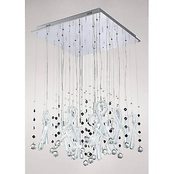 Class Square Pendant Light 20 Bulbs Polished Chrome / Frosted White / Crystal