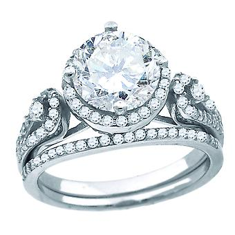 925 Sterling Silver Womens CZ Round Center Stone Bridal Wedding Engagement Ring Band Jewelry Gifts for Women - Ring Size