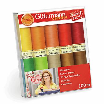 Gutermann Sew-all 100% Polyester Thread 100m Hand and Machine - 10 Multicoloured reels