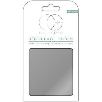 "Craft Consortium Decoupage Papers 13.78""X15.75"" 3/Pkg-Metallic Silver"