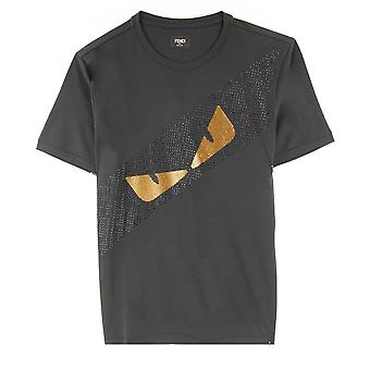 Fendi Diagonal Strass Eyes T Shirt Black