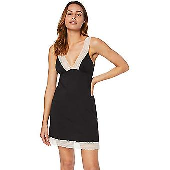 Iris & Lilly Women's Modal Nightgown with Contrast Lace, (Black), EU XS (US 0...