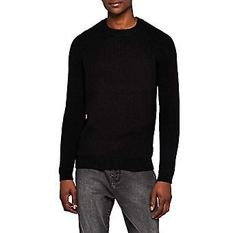 Meraki Men's Ribbed Winter Sweater, Black, EU XXL (US XL)
