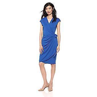 Marque - Lark & Ro Femmes's Classic Cap Sleeve Wrap Dress, Bleu Cobalt, ...
