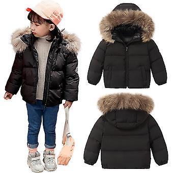 Lapset Unisex tyylikäs pehmustettu Parka Puffer Fur Trim Hood talvitakki - musta