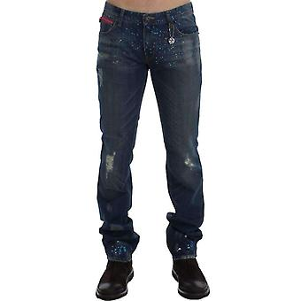 Blue Wash Paint pantalones vaqueros Slim Fit