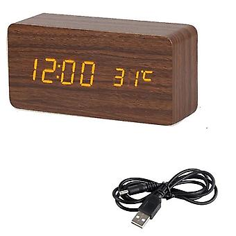Led Wooden Clock Digital Desktop Alarm Clocks - Electronic Voice Control,