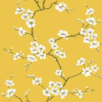 Fresco Apple Blossom Wallpaper Ochre Graham and Brown 108289
