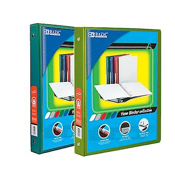 Combo23, BAZIC 1/2 Inch 3-Ring View Binder with 2-Pockets (Case pack of 24 consist 12-Green & 12-Lime Green)