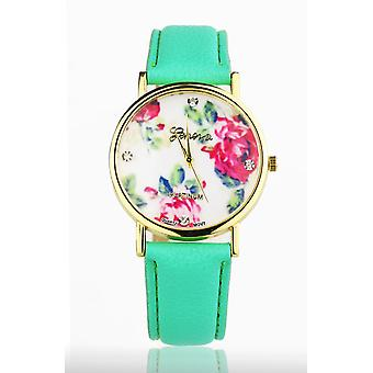Green Women's watch from Geneva flower swarovski crystal leather