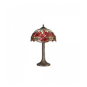 Clio 1 Light Tree Like Table Lamp E27 With 30cm Tiffany Shade, Purple/pink/crystal/aged Antique Brass