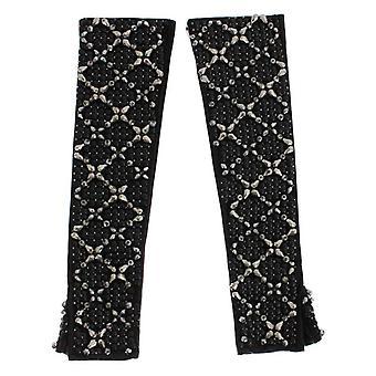 Dolce & Gabbana schwarz Leder Kristall Perlen Finger Frei Handschuhe SIG16559-1