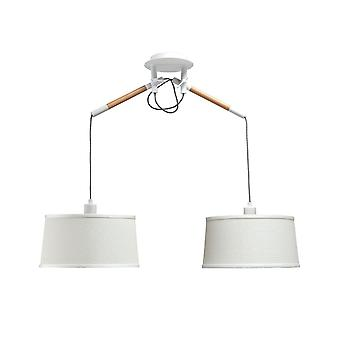 Ceiling Pendant with White Shade 2 Light E27, Matt White, Beech with Ivory White Shades