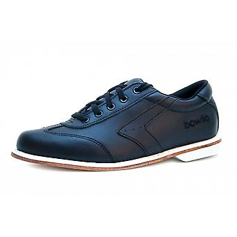 Bowlio Nero leather bowling shoes in black with leather sole