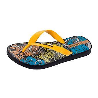 Ipanema BMX Kids Flip Flops - Black and Yellow