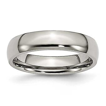 Titanium Half Round Engravable 5mm Polished Band Ring - Ring Size: 5 to 16