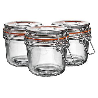 Argon Tableware Glass Storage Jars with Airtight Clip Lid - 350ml Set - Orange Seal - Pack of 3