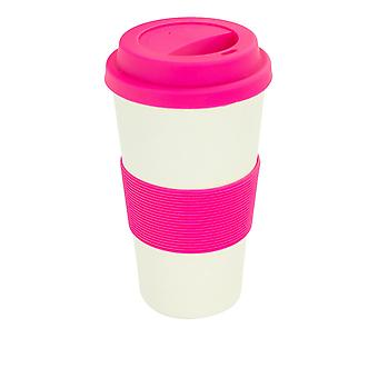 Reusable Coffee Cup - Bamboo Fibre Travel Mug with Silicone Lid, Sleeve - 400ml (14oz) - Pink
