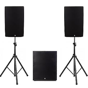Big gig rig 43 - active 1400w rms 12 tops and 15 subwoofer with bluetooth & tripod stands