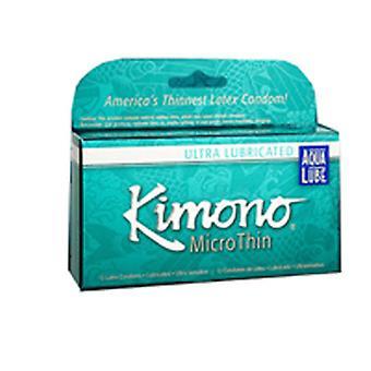 Mayer Laboratories Kimono MicroThin Condoms, Aqua Lube Large 3 CT