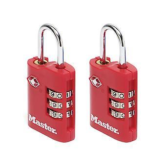 Master Lock TSA Combinatie Zink padlocks 3 cijfers 30mm x 2 MLK4686EURT