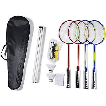 alloutdoor Badminton Set with Four Rackets Two Shuttlecocks and Portable Net -