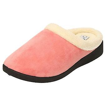 JWF Warm Lined Memory Foam Mule Slippers Clogs Rose Pink