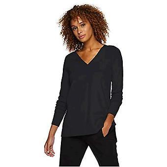 Lark & Ro Frauen's Langarm übergroße Doppel V-Ausschnitt Pullover, schwarz, Medium