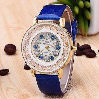 Crystal Shining Dress Ladies Watch Rose Gold Case Leather Strap Quartz Watches