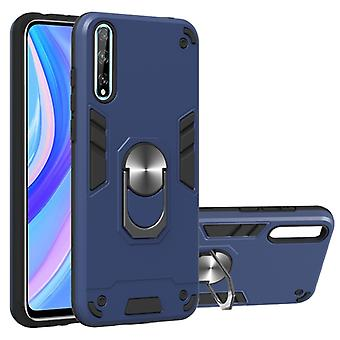 Pour Huawei Y8P (2020) 2 en 1 Armour Series PC + TPU Protective Case with Ring Holder (Royal Blue)