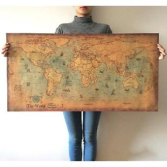 Vintage Style World-map For Office/school Decoration