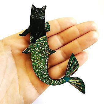 Black Cat Mermaid Wooden Magnet