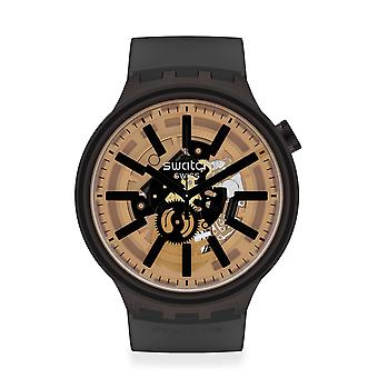 Swatch SO27B115 Big Bold Dark Taste Black SiliconEn Horloge
