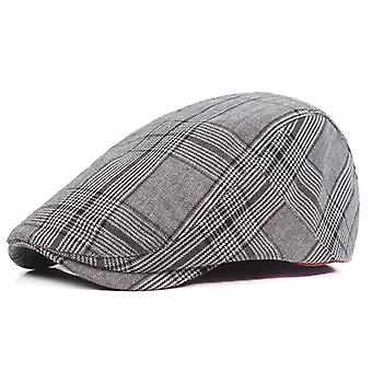 Plaid Pattern Men's Newsboy Gatsby Hat Vintage Beret Flat Ivy Cabbie Driving Hunting Cap For Boyfriend Gift
