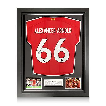 Trent Alexander-Arnold firmado Liverpool 2019-20 Camisa. Marco estándar