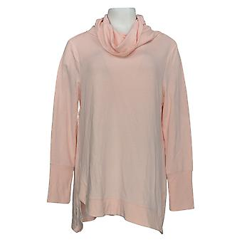 H By Halston Women's Top Cowl Neck French Terry Tunic Pink A347358