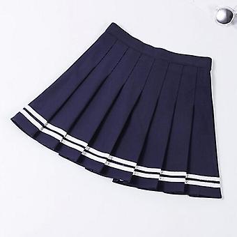 ハイウエストプリーツスカート女性Aラインセーラー大型プレッピースクールユニフォーム