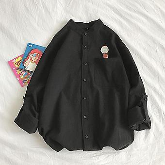 قمصان بسيطة طويلة الأكمام، طوق الماندرين، ناعم وراحة