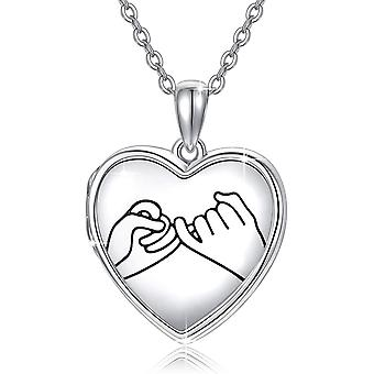 Sterling Silver Locket Necklace Holds Pictures Promise Heart Locket Pendant Gift