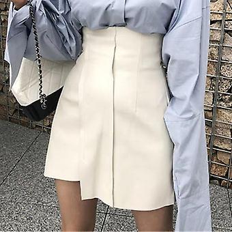 Summer Women's Skirt Pu Leather High Waist Short Skirt