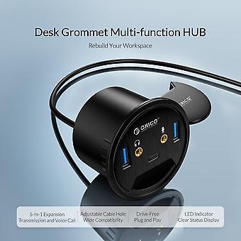 Διανομέας Grommet Usb 3.0 επιφάνειας εργασίας με θύρα μικροφώνου ακουστικών