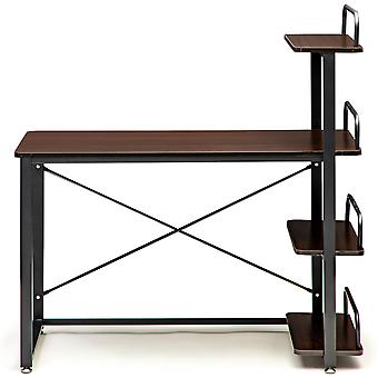 Desk table bookcase combination brown - 120x50x75 cm - 4 półki na półkę