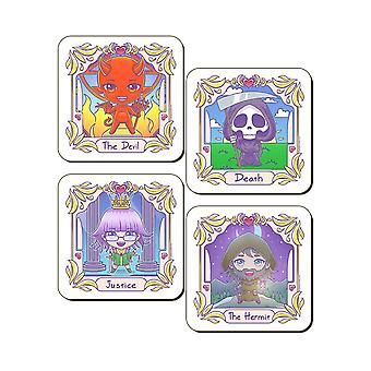 Deadly Tarot The Devil Hermit Death & Justice Kawaii Coaster Set (Pack of 4)
