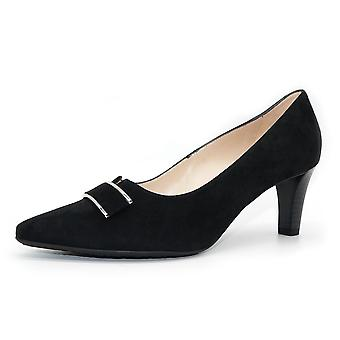 Peter Kaiser Mary Heel Court Shoe In Black Suede