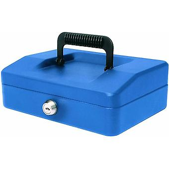 Helix Cash Box Lockable with Removable Coin Tray x2 Keys - 8 inch - Blue Steel