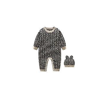 Baby Vinter Varm Strik Sweater Stripe Langærmet Cardigan Romper og Hat Set