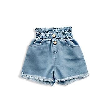 Sommer Shorts Jeans, Høy midje Elastisk Bånd, Massiv Dratt, Hip-huggers Shorts
