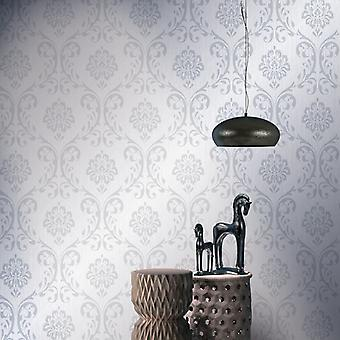 vidaXL wallpaper rolls fleece 4 pcs. white 0.53×10 m ornament