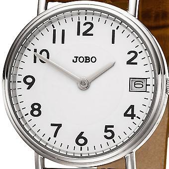 JOBO Women's Watch Quartz Analog Stainless Steel Leather Strap Brown Date Women's Watch