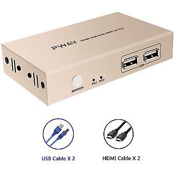 Wokex KVM Switch 2 Port 4K*2K@30Hz Y:U:V 4:4:4 mit 2 x 5ft Wokex und USB Kabel Untersttzung